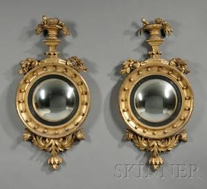 Pair of Regency Giltwood Convex Mirrors