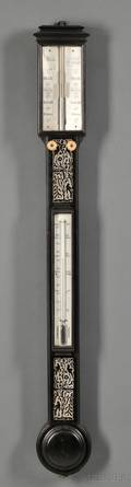 Mother of Pearl Inlaid Mahogany Stick Barometer