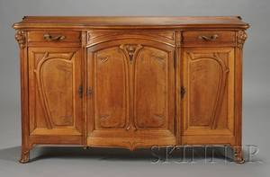 French Art Nouveau Carved Walnut Sideboard
