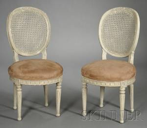 Pair of Louis XVstyle Cream Painted and Caned Side Chairs