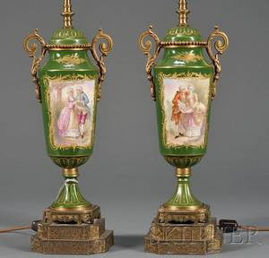 Pair of Sevresstyle Porcelain Urnform Lamps