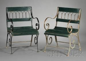 Pair of Metal and Painted Wood Garden Armchairs