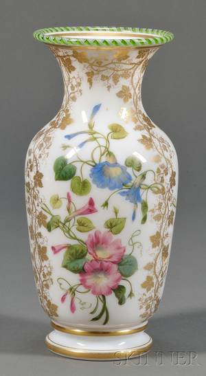 Enamel Decorated Opaline Glass Vase