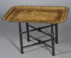 Victorian Tole Tray on Stand