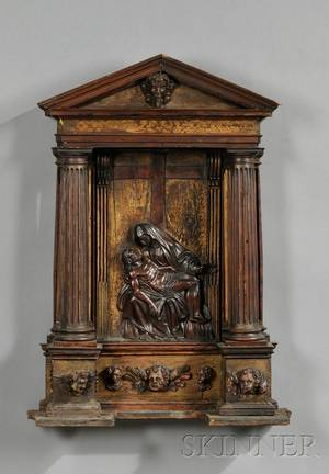Continental Carved Fruitwood Pieta Wall Niche