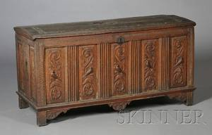 English Jacobean Carved Oak Blanket Chest
