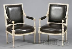 Pair of Louis XVIstyle Gray Painted Fauteuils a la Reine