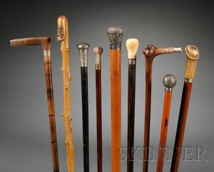 Collection of Fortynine Walking Sticks and Canes