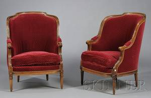 Pair of Louis XVstyle Velvet Upholstered Bergeres