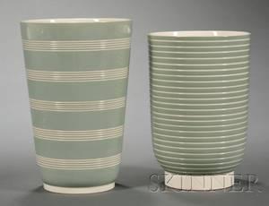 Two Wedgwood Keith Murray Creamware Vases