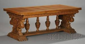 Victorian Renaissance Revival Carved Oak Draw Leaf Trestle Dining Table