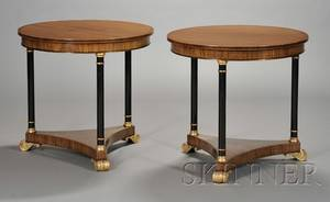 Pair of Directoirestyle Mahogany Part Ebonized and Parcel Gilt Center Tables