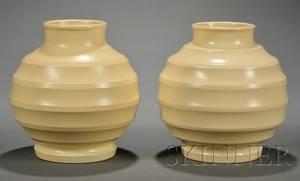 Two Wedgwood Keith Murray Design Matte Straw Slip Glazed Vases