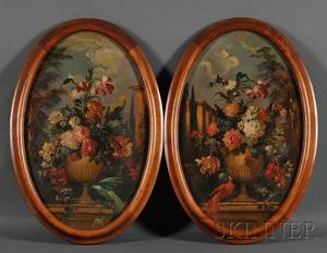 Continental School 19th Century Lot of Two Oval Floral Still Life Paintings