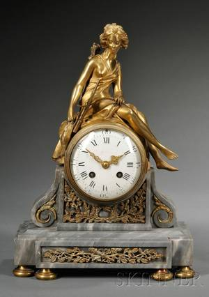 Louis XVstyle Bronze and Marble Mantel Clock