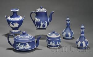 Six Wedgwood Dark Blue Jasper Dip Items