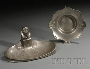 Kayserzinn Art Nouveau Inkstand and Dish