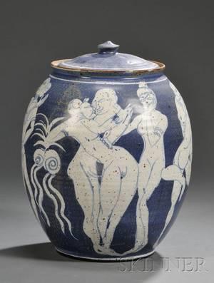 Studio Art Pottery Covered Jar