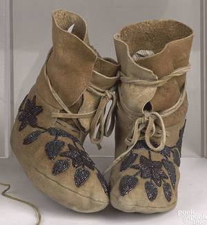 Pair of Iroquois beaded hide moccasins