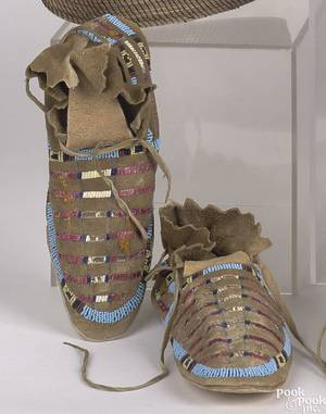 Pair of Sioux beaded and quilled hide moccasins