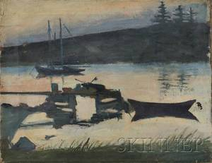 Kristjn H Magnsson IcelandicAmerican 19031937 Untitled View with a Dory by a Dock