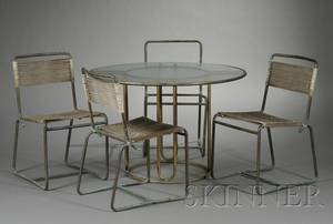 Walter Lamb Dining Table and Four Chairs
