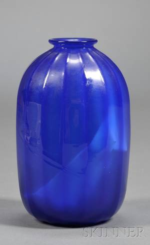 Cobalt Glass Vase Attributed to Steuben