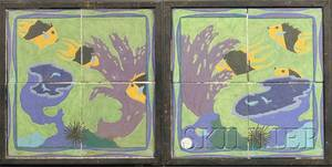 Two Framed Art Deco Ceramic Tile Pictures