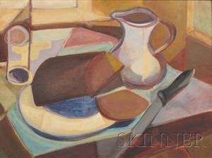 Charlotte Pols American 20th21st Century Still Life with Pitcher and Loaf of Bread