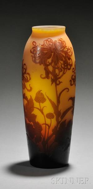 DArgental Art Nouveau Cameo Glass Vase