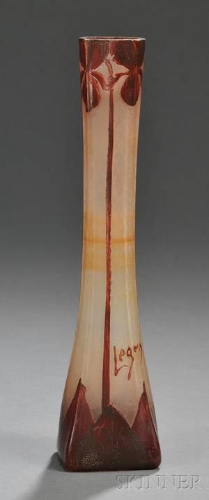 Legras Cameo Glass Bud Vase