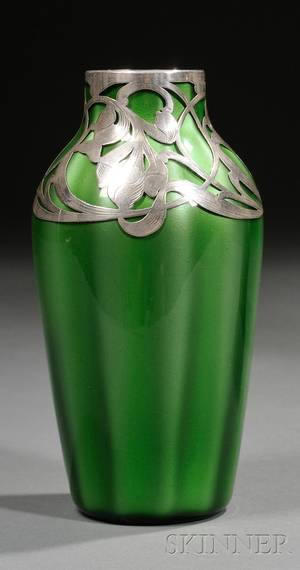 Loetz Metallin Art Glass Vase with Silver Overlay