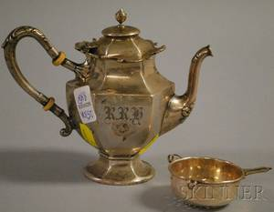 International Silver Co Sterling Silver Teapot and Sterling Strainer