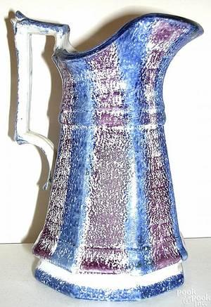 Blue and purple rainbow paneled pitcher