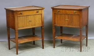 Pair of Charak Furniture Neoclassicalstyle Cherry Traytop Tambour End Tables