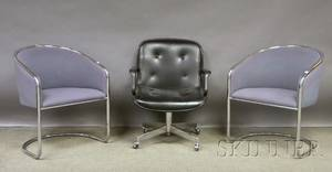 Pair of Design Furniture Center Modern Upholstered Bent Tubular Steel Barrelback Chairs a Modern Office Chair and a Recliner