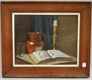 E Knowles Oil on Board of a Still Life with Open Book