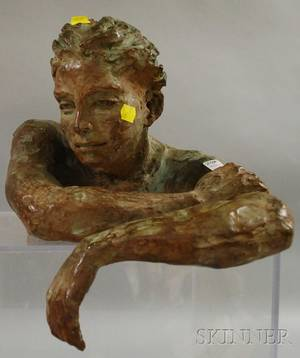Modern Patinated Bronze Sculpture of a Young Woman