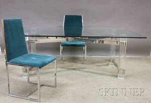 Glass and Lucite Dining Table with a Set of Six Modern Upholstered Metal Dining Chairs