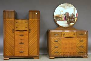 Sixpiece Art Deco Parquetry and Maple Waterfall Bedroom Suite