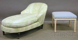 Louis XVIstyle Upholstered Recamier and a Provincial Upholstered Whitepainted Carved Wood Ottoman