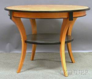 Biedermeierstyle Partialebonized Blondewood Center Table with Burlwood Veneer Top