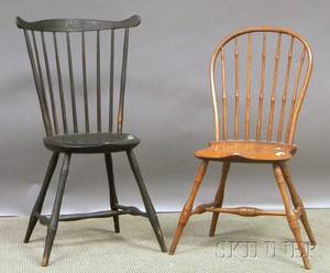Windsor Bowback Side Chair and a Blackpainted Windsor Fanback Side Chair