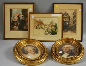 Two Framed European Aquatints an Etching and a Pair of Framed George and Martha Washington Portrait Prints