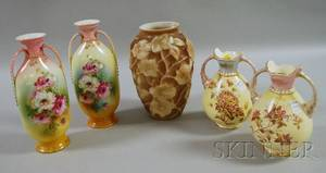 Four Floraldecorated Ceramic Vases and a Phoenix Glass Vase