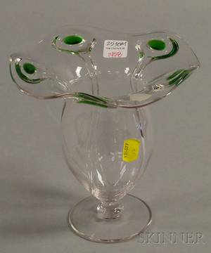 Steubenstyle Colorless Blown Glass Footed Vase with Applied Green and Colorless Glass Decoration
