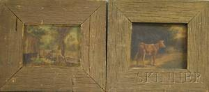 Lot of Two American School Landscapes 19th20th Century Standing Calf