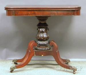 Late Classical Carved Mahogany Pedestalbase Card Table