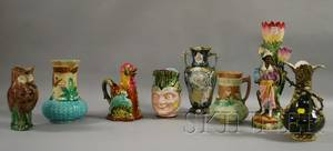 Eight Assorted Majolica Glazed Ceramic Table Items