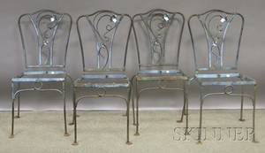 Set of Four Wrought Iron Patio Side Chairs